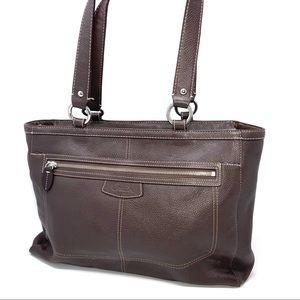 Coach Brown Pebble Leather Tote
